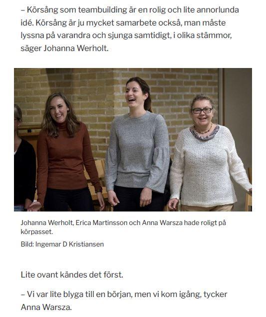 Ellen Sörensen vocallife sydsvsnskan teambuilding med körsång